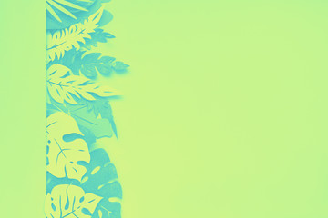 Dark floral background with paper tropical leaves
