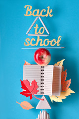 """Concept still life with text """"Back to school"""" balancing on pyramide of school supplies"""