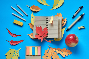 Open blank notebook with autumn leaves, bookmarks and apple on blue background