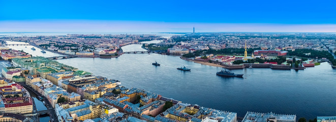 Russia. Panorama of St. Petersburg from the quadcopter. Ships on the Neva. Rivers Of SPb. The ships in the Harbor. View of the city from above. The Center Of St. Petersburg.