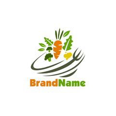 Organic Salad Logo Design Stock Vector