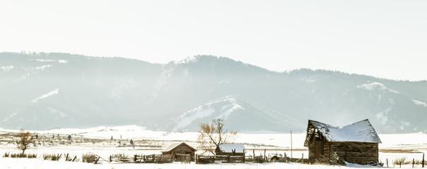 Abandoned Farm in Winter Field
