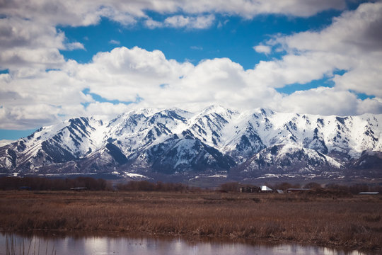 Snow-covered Logan Mountain in Spring