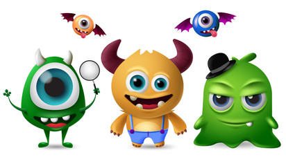 Photo sur Aluminium Creatures Cute monsters vector character set. Little cute monsters with scary and crazy faces for design elements isolated in white background. Vector illustration.