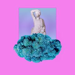 Contemporary art collage. Sculpture renaissance and flowers art