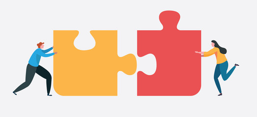 Teamwork connect to successful together concept. The Big jigsaw puzzle Wall mural