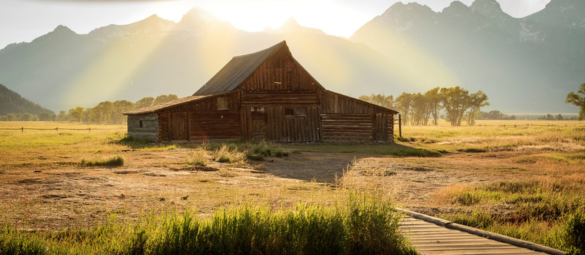 Classic old barns in the Teton Mountains, Wyoming, USA