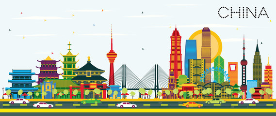 China City Skyline with Color Buildings. Famous Landmarks in China.
