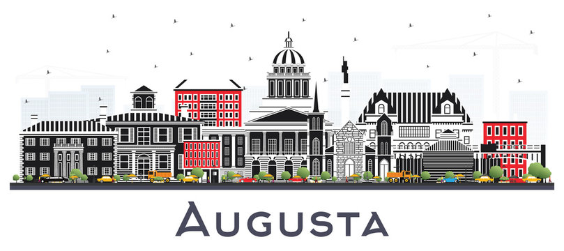 Augusta Maine City Skyline with Color Buildings Isolated on White.