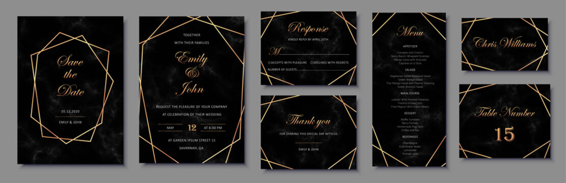 Elegant invitations set with golden geometric frames and black marble texture.