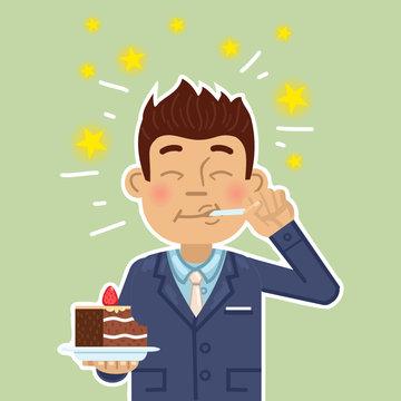 Illustration of a businessman eating a cake. Joyful man eating super delicious cake. Pleasure, enjoy, joy, sweets. Simple style vector illustration