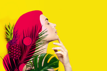 Contemporary art collage of beautiful woman with tropical fruits and palm leaves on yellow background.