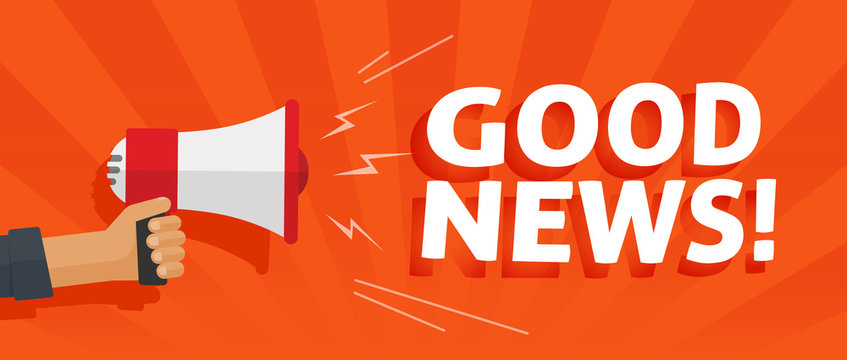 Good news information alert from hand with megaphone or loudspeaker vector illustration, flat cartoon announce notification banner horizontal sign image