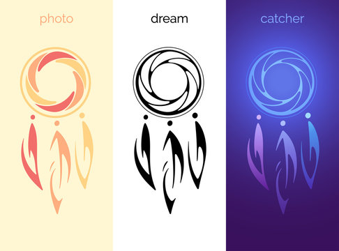 Photographic Dream Catcher. Original vector logo for videographer or photographer. Six-bladed iris of diaphragm in the circle and three feathers. Set of various ethnic signs. Stamp, tattoo and icon