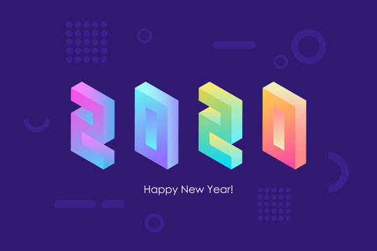 2020 Happy New Year isometric text design with trendy bright neon gradients for holiday greetings and invitations. Vector illustration.