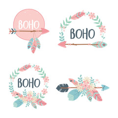 Foto op Plexiglas Boho Stijl set of decorations boho style