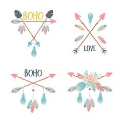 Foto auf Leinwand Boho-Stil set of decorations boho style