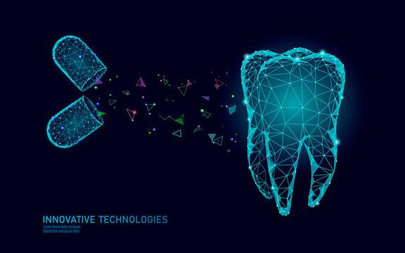 3d tooth innovation dentistry polygonal concept. Medication drug pill symbol low poly. Enamel restoration abstract oral dental medical care business. Connected dot modern vector illustration
