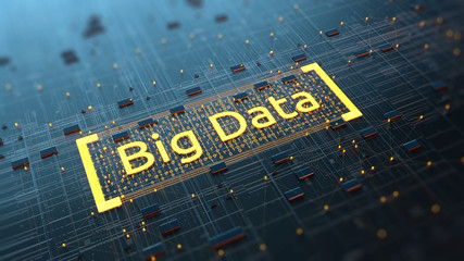 Abstract image of big data in the server motherboard/Abstract image of big data, data processing processes in the server motherboard