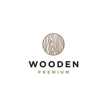 Line art wood texture logo