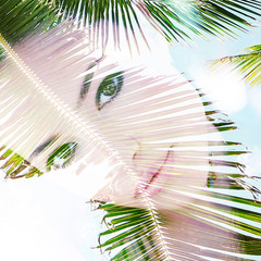 summer girl portrait double exposure