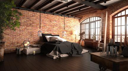 Großes Wohn-Schlafzimmer vor roter Ziegelwand mit großen Fenstern