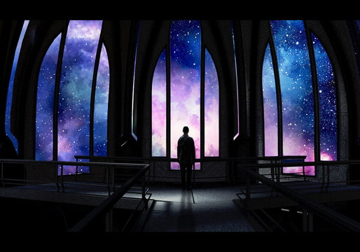 Artistic Digital Paint Of A Stand Alone Man In a Castle Looking At A Colorful Nebula View Artwork