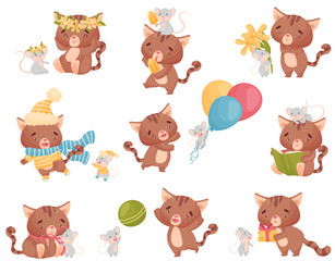 Cute friendly cat and mouse in different situations. Vector illustration on white background.