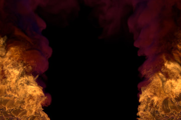 Flame from both picture bottom corners - fire 3D illustration of blazing fireplace, frame with dense smoke isolated on black background