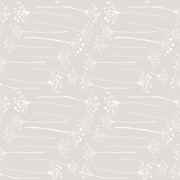 Botanical floral vector seamless pattern with hand drawn herbs, plants, flowers and leaves.