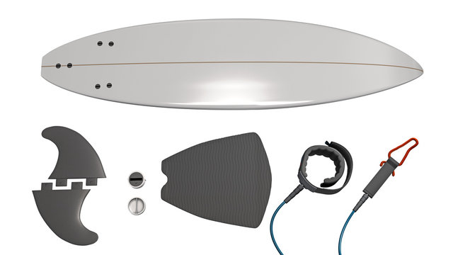 Parts of a surfboard lined up side by side - 3d Illustration