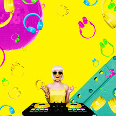 Young sexy woman dj playing music. Headphones and dj mixer on yellow background. Fashion Retro Concept art collage