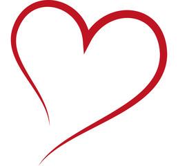 Red heart, love, wedding, romance - single line