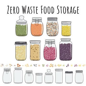 Zero waste storage in jars for bulk products