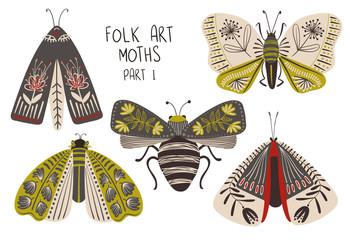 Set Of Folk Art Decorated Moths.