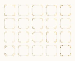 Set of hand drawn golden squared frames. Rustic glitter wedding design.Vector gold foil isolated illustration.