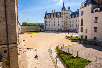 The courtyard of Castle of the Dukes of Brittany in Nantes, France