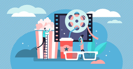 Movies vector illustration. Flat tiny film theater symbols persons concept.