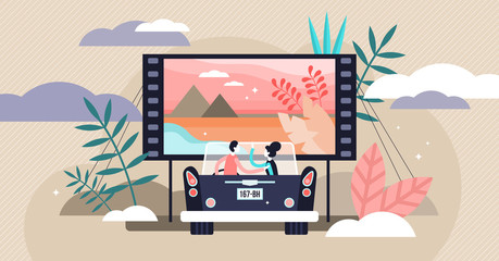 Movies vector illustration. Flat tiny media film theater persons concept.