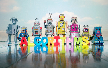 Wall Mural - ALGORITHMS  wooden letters and retro robot toys