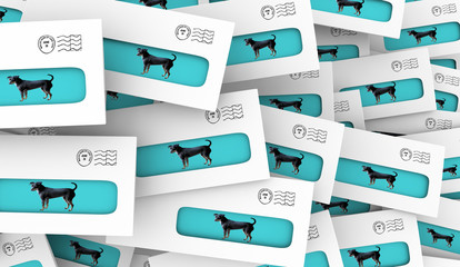 Dogs Pets Animals Envelopes Direct Mail 3d Illustration