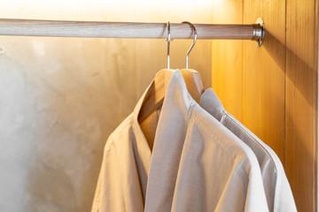 bathrobe hanging on rack