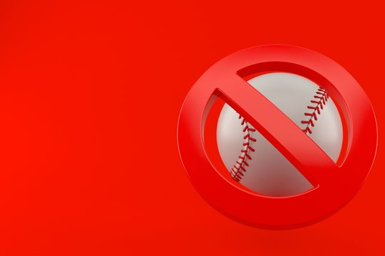 Baseball ball with forbidden symbol