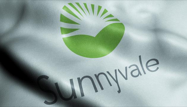 3D Waving Flag of Sunnyvale City Closeup View