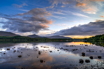 View of Loch Morlich at dusk