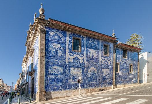 Exterior facade of Chapel Of Souls (Capela das Almas de Santa Catarina) on the Santa Catarina Street in Porto, Portugal