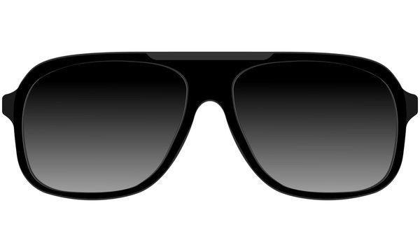 Sunglasses in black plastic rimmed aviator model