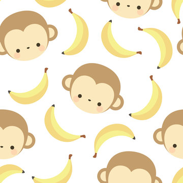 Monkey cute with banana seamless pattern, vector illustration background