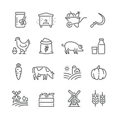 Farming and agriculture related icons: thin vector icon set, black and white kit