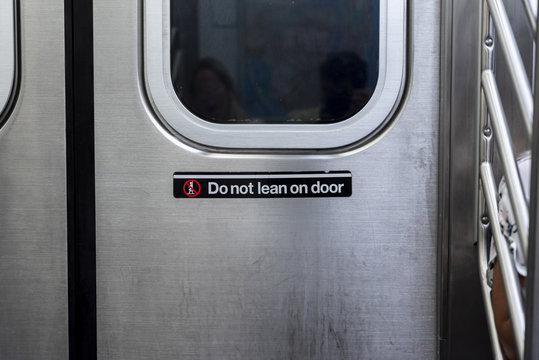 Front view subway door closeup